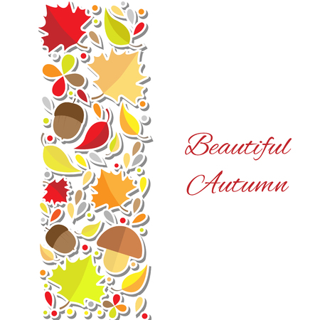 Design template for poster, postcard, card, invitation, brochure, booklet. Text Beautiful Autumn. Vector illustration on white background.