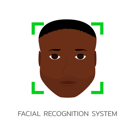 Face Recognition System, ID or Biometric identification. Vector illustration man's face with dark skin, african american. Ilustrace