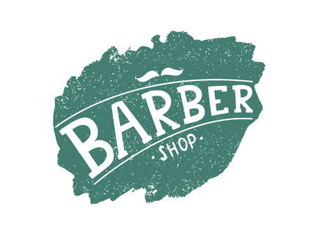 Barber shop logo with mustache, modern calligraphy, handwritten lettering on color spot with old texture.  Vector illustration.