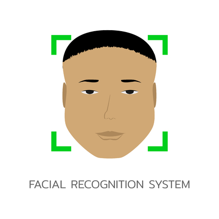Face Recognition System, ID or Biometric identification. Modern technology. Vector illustration man's face with asian appearance. Ilustrace