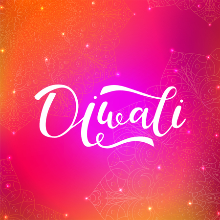 Hand drawn lettering Diwali Hindu festival. Greeting card with mandala, lights.  Colorful background. Vector illustration.