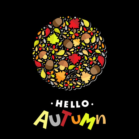 Hello Autum lettering typography with botanic elements: acorns, leaves, mushrooms. Modern autumn fest calligraphy. Vector illustration on black background as poster, postcard, card