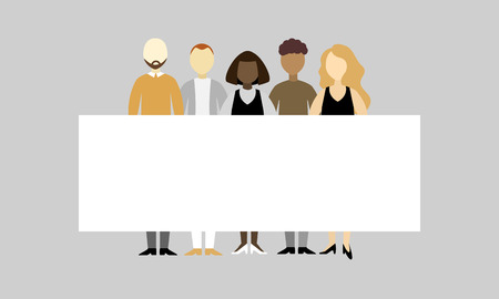 Group of different people standing together and holding an empty board with copy space together on grey background. Your text here. Vector illustration of meeting, protest, strike, association.