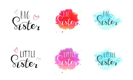 Little big sister. Lettering for babies clothes, t-shirts and nursery decorations (bags, posters, invitations, cards, pillows). Brush calligraphy isolated on white background. Иллюстрация