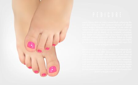 Pedicure manicure concept poster with female feet for beauty salon. Realistic vector illustration Illustration