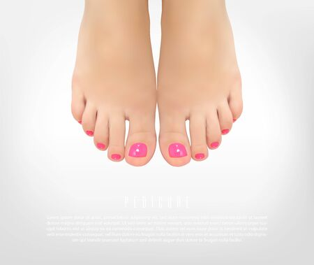 Pedicure manicure concept poster with female feet for beauty salon. Realistic vector illustration. Ilustrace