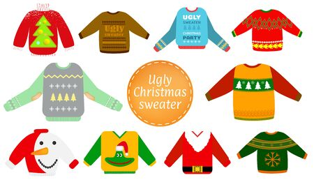 Ugly Christmas sweaters vector set in red and green colors, Sweater party clip art collection for invitations, Happy New Year greeting card template. Cute and funny vector illustration. Ilustrace