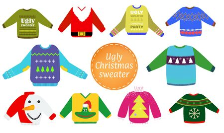 Ugly Christmas sweaters vector set, Sweater party clip art collection for invitations, Happy New Year greeting card template. Cute and funny vector illustration. Ilustrace