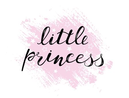 Little princess baby lettering quote for girl design, clothes, kids poster, t-shirt. Lettering photography family overlay . Hand written sign. Baby photo album element. Vector illustratrion. Ilustrace