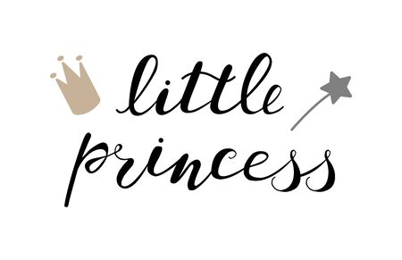 Little princess baby lettering quote for design, clothes, kids poster, t-shirt. Lettering photography family overlay . Hand written sign. Baby photo album element. Vector illustratrion. Ilustrace