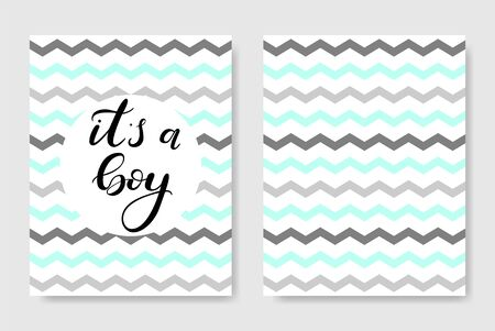 It's a boy. Baby shower poster. Vector invitation with cute kids pattern. Baby arrival and shower with lettering. Greeting card. Ilustrace
