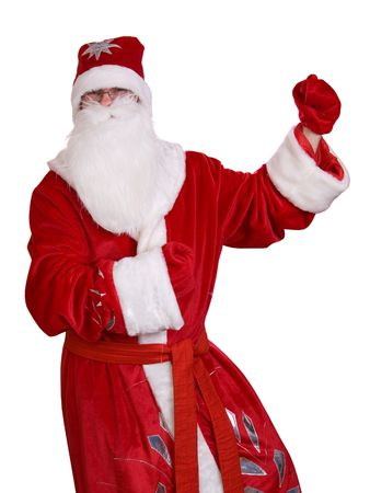 Merry Christmas Santa Claus dancing isolated on white background. photo