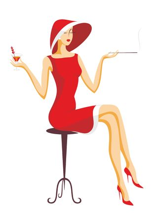 sits: the beautiful lady sits on a bar stool and drinks cocktail Illustration