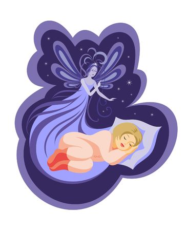 protects: the night fairy protects the dream of the sleeping girl
