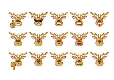 resentment: image of an elk, expression various emotions Illustration