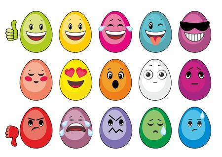 resentment: multi-colored Easter eggs in the form of smiles Illustration
