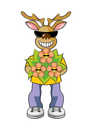 holds: the elk holds a bouquet of flowers Illustration