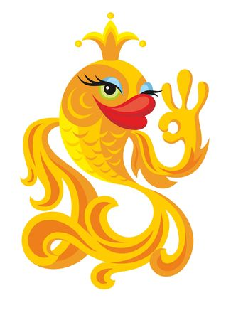 gold small fish - the fairy tale character Illustration