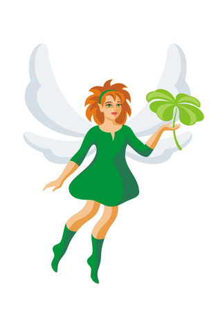four eyes: the little elf holds a leaf of a clover with four petals