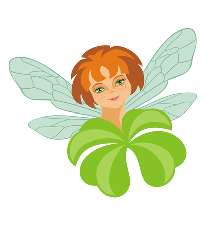 four eyes: the little fairy holds a leaf of a clover with four petals
