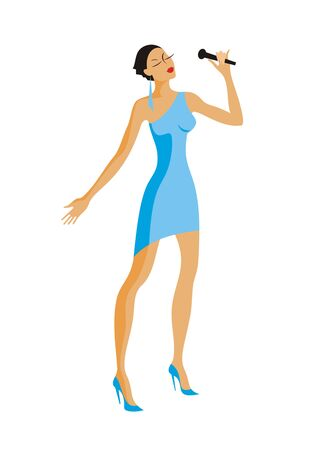 blue dress: singer in blue dress holding a microphone