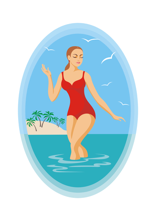 personas banandose: la chica en un traje de ba�o rojo que sale del mar