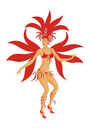 the dancer of a samba in a carnival costume