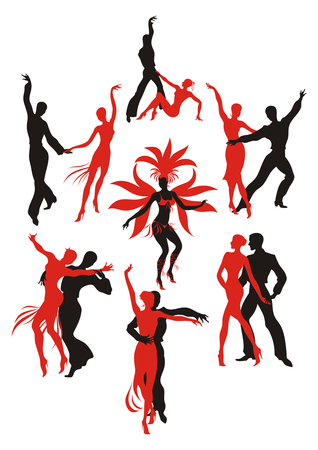 latin american: set. red and black silhouettes of the people dancing the Latin American dances