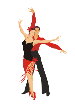 paso doble: lady and gentleman dance paso doble Illustration