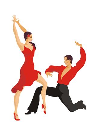paso doble: Paso doble. ballroom dancing couple Illustration
