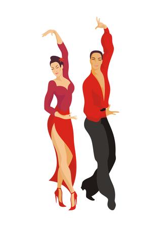 paso doble: Spanish One Step. Paso doble. ballroom dancing couple Illustration