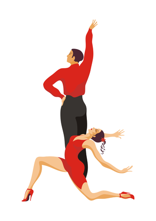 paso doble: ballroom dancing couple. lady and gentleman dance paso doble Illustration