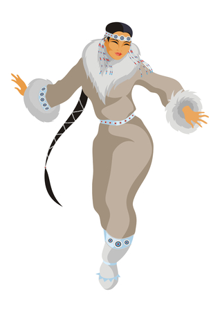 eskimos: the Chukchi girl in a national suit dances Illustration