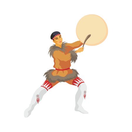 esquimales: el joven de Chukchi en un traje nacional baila con una pandereta