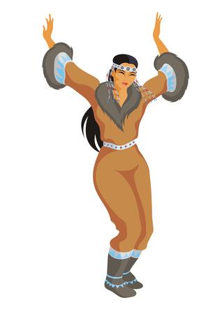 esquimales: la chica de Chukchi en un traje nacional baila Vectores