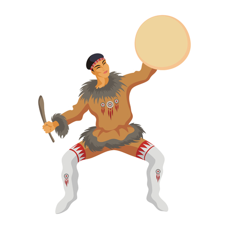 esquimales: los Chukchi con una pandereta