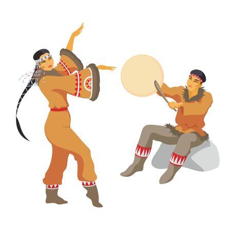 esquimales: el joven de Chukchi impacta en una pandereta, y la chica baila