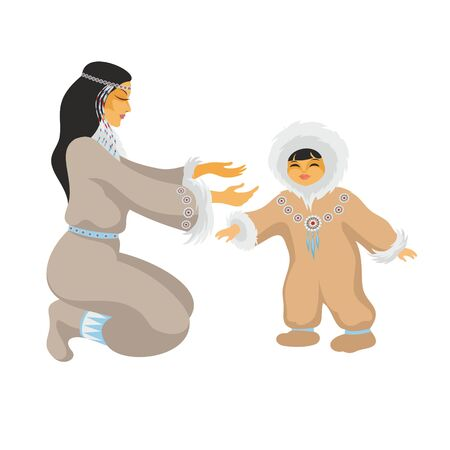 Chukchi mom plays with the baby