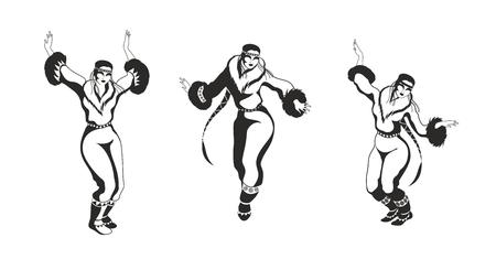 esquimales: la chica de Chukchi en un traje nacional baila. Conjunto