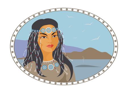 eskimos: face of the Chukchi girl against the cold sea