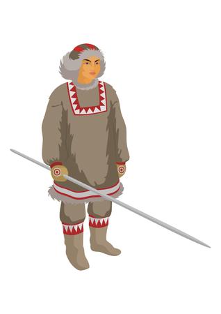 esquimales: el criador de renos de Chukchi en ropa de invierno nacionales Vectores