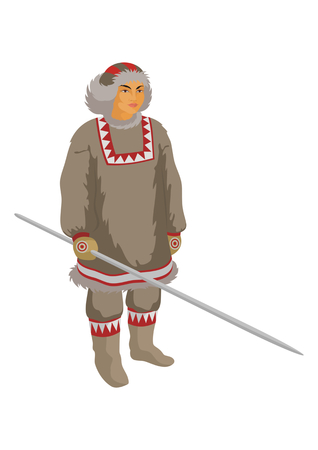 breeder: the Chukchi reindeer breeder in winter national clothes Illustration