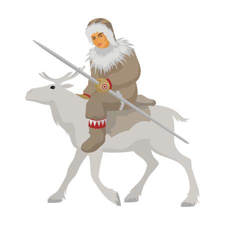 esquimales: el joven de Chukchi en ropa de invierno nacionales va montado en un reno