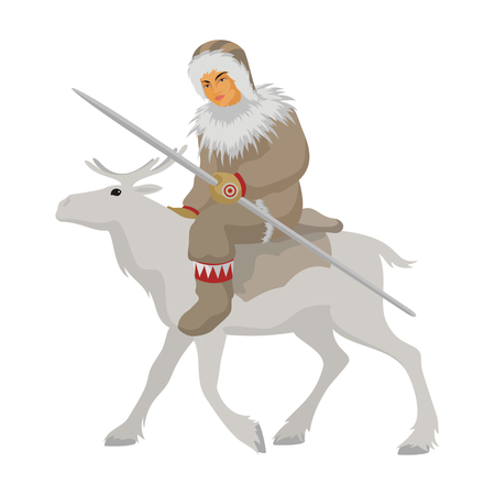 the Chukchi young man in winter national clothes goes astride a reindeer Illustration