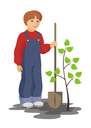 planted: the boy has planted a tree