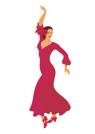 赤いドレスを着たダンサーがフラメンコを踊る