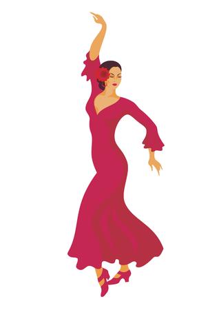 red dress: the dancer in a red dress dances a flamenco