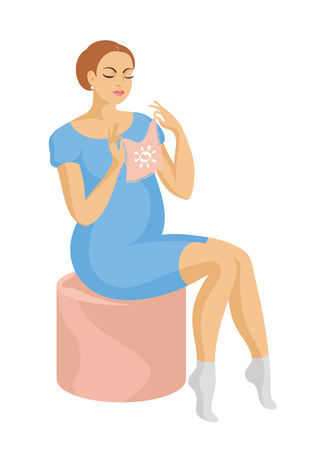 padded stool: young, beautiful future mother in a blue dress sits on a padded stool and looking at a childrens jacket Illustration