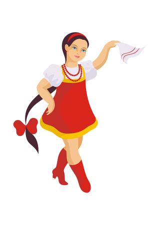 sundress: the little girl in a red sundress dances the Russian national dance Illustration