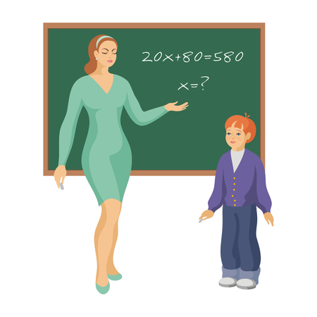 equation: the teacher asks the school student to solve the mathematical equation